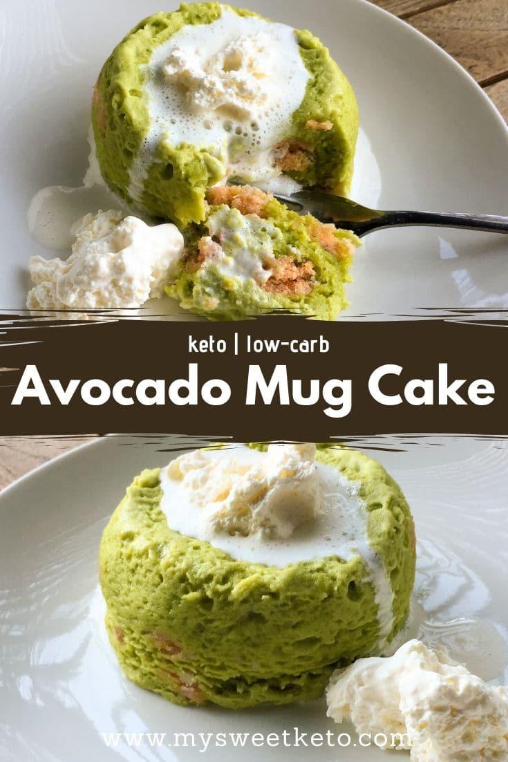 Low-Carb Keto Avocado Mug Cake is great when you're craving a fast solo sweet treat. #mugcake #keto #ketogenic #recipe #ketodessert
