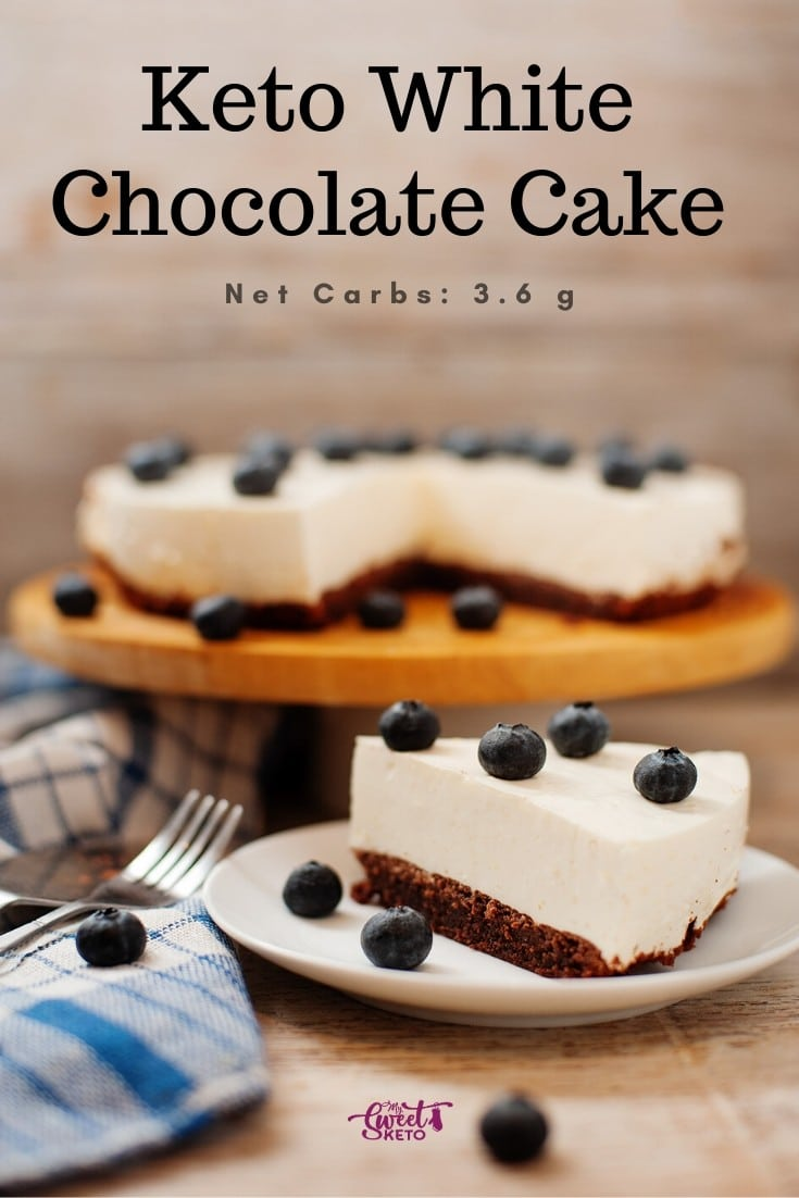 This keto white chocolate cake fills you up any time of the day and delivers some extra protein in case you've been exercising a lot. #keto #ketogenic