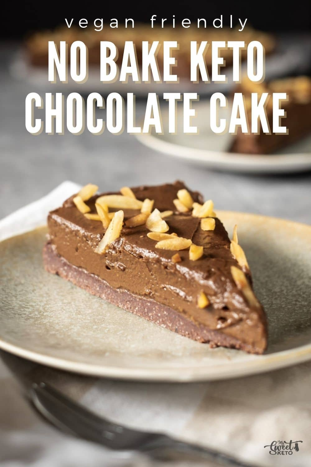 In the flood of keto chocolate cake recipes, No Bake Keto Chocolate Cake is easy to make. Besides, it can be made entirely vegan friendly! #keto #ketocake #nobakecake