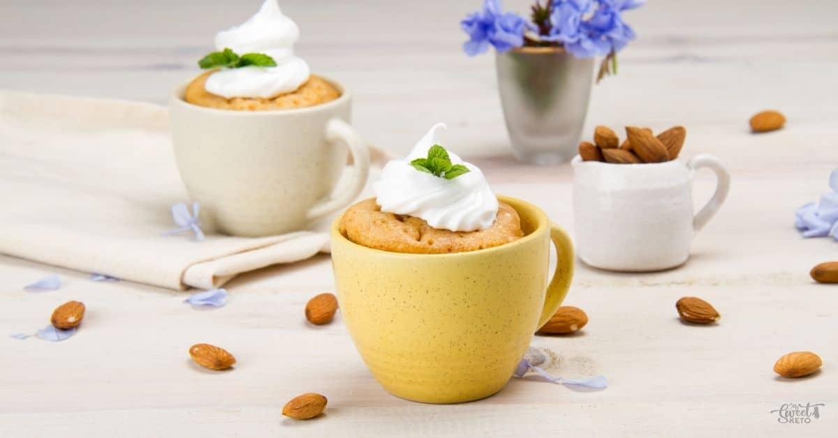 A quick and easy one minute, single serving Low-Carb Keto Vanilla Mug Cake. This is for all vanilla lovers! #keto #lowcarb #mugcake #ketomugcake