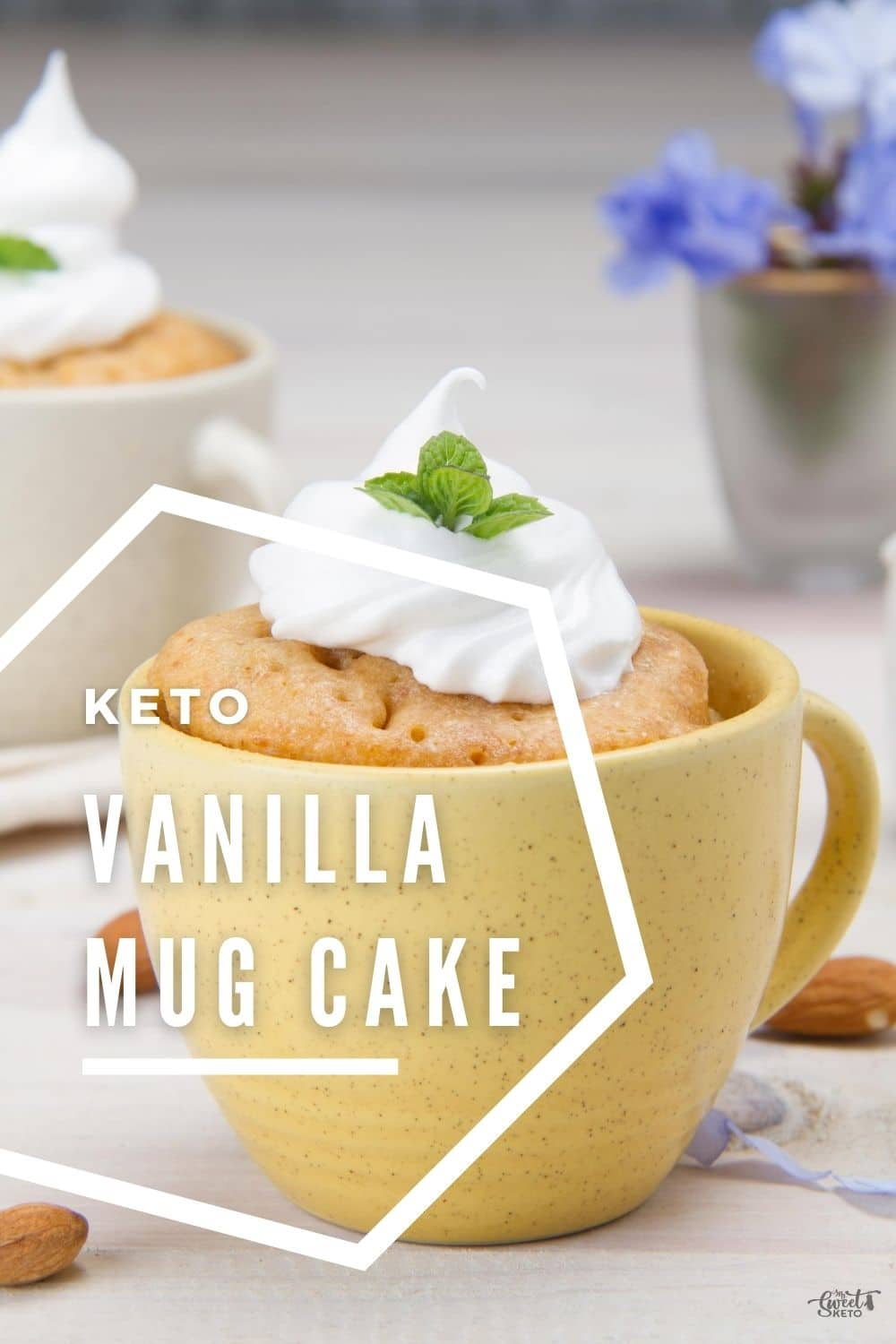 A quick and easy one minute, single serving Low-Carb Keto Vanilla Mug Cake. This is for all vanilla lovers! #keto #lowcarb #mugcake #vanilla
